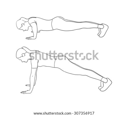 Digital illustration of a fitness woman doing push-up - stock photo