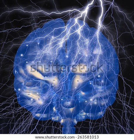 Digital Illustration of a Flash of Genius - stock photo