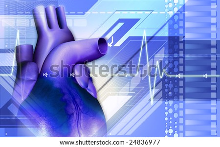Digital illustration of a heart  	 - stock photo