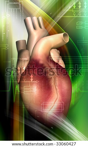 Digital illustration of a heart in colour background	 - stock photo
