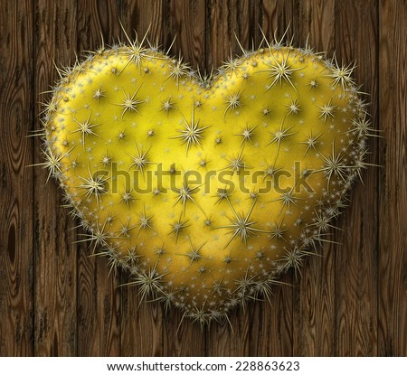 Digital illustration of a heart shaped prickly pear cactus against a paneled wood wall. - stock photo