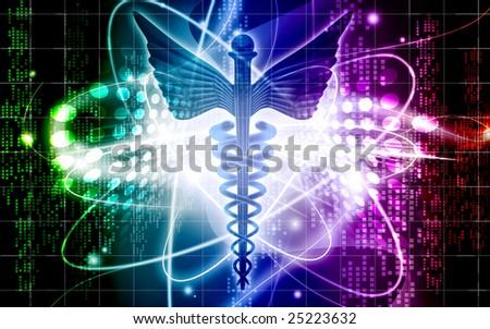 Digital illustration of a medical logo in black colour - stock photo