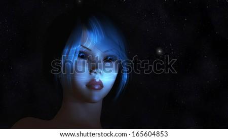 Digital Illustration of a mystic Female - stock photo