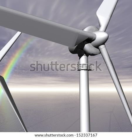 Digital Illustration of a Wind Turbine - stock photo