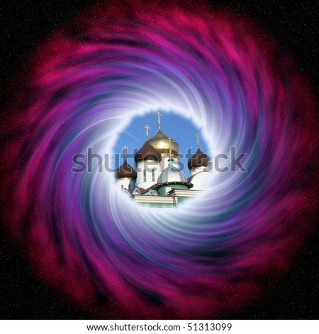 Digital illustration of abstract  vortex with Russian orthodox church as faith portal concept . Great design for advertising materials , greetings cards  and other print or web  projects . - stock photo