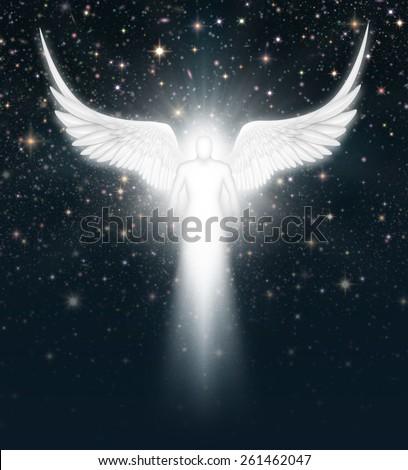 Digital illustration of an angel in the night sky full of stars. - stock photo
