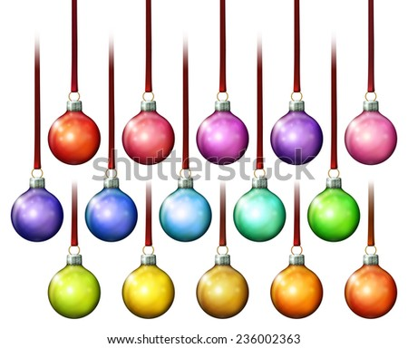 Digital illustration of assorted solid color Christmas ball ornaments. - stock photo