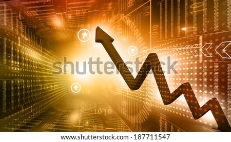 Digital illustration of Business Arrow Graph  - stock photo