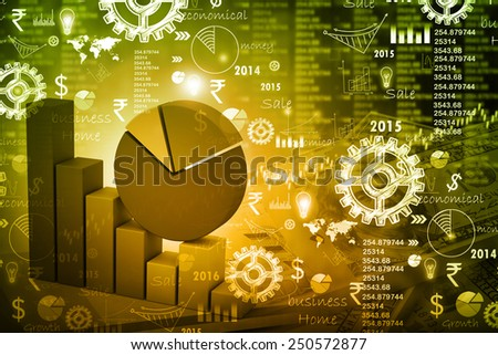 Digital illustration of business graph - stock photo
