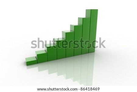 Digital illustration of business graph in white background - stock photo