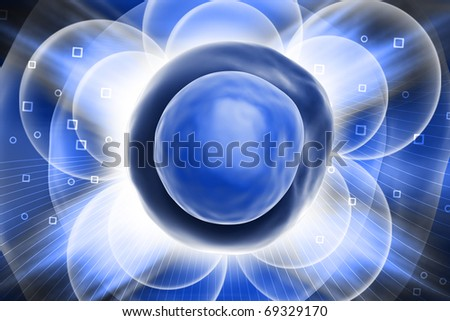 Digital illustration of CELL in colour background - stock photo