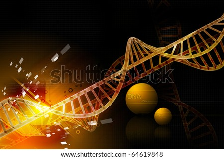 Digital illustration of 3d dna with color background - stock photo