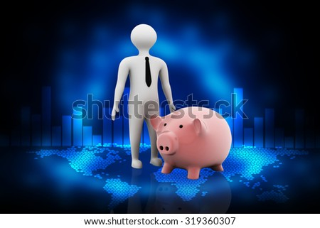 Digital illustration of 3d pig and a businessman in color background - stock photo
