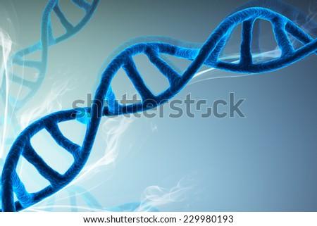 Digital illustration of dna in color background - stock photo