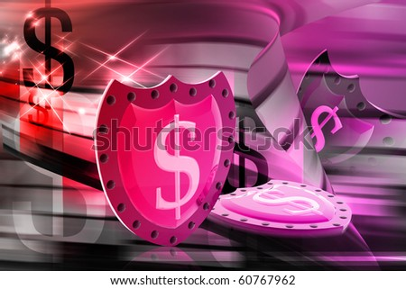 digital illustration of dollar sign in color background - stock photo