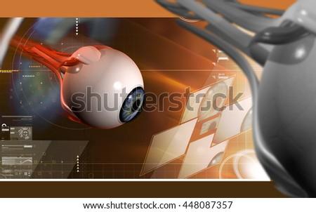 Digital illustration of  eye   in  colour  background. 3D rendering - stock photo