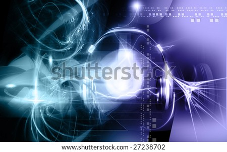 Digital illustration of headphone and sparking light 	 - stock photo