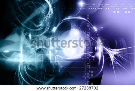 Digital illustration of headphone and sparking light  - stock photo