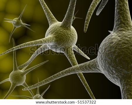Digital illustration of Human neuron cell rendering in 3d on color background - stock photo