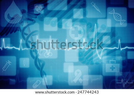 Digital illustration of Medical logo with colour background - stock photo