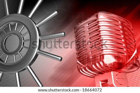 Digital illustration of microphone in red colour 	 - stock photo
