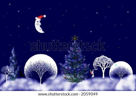 Digital illustration of night forest with white snowy trees silhouettes , sleepy moon and animals getting ready for Christmas . Great for greeting cards designs and other printing/web materials . - stock photo
