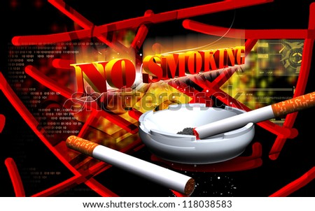 Digital illustration of no smoking  in colour background - stock photo