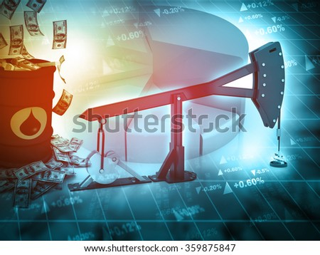 Digital illustration of Oil pump-jack and growth graph with dollars - stock photo