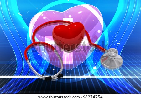 Digital illustration of stethoscope and heart in colour background - stock photo