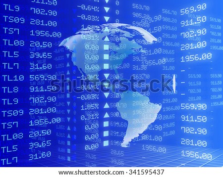 Digital illustration of Stock market graph, Mixed Charts - stock photo