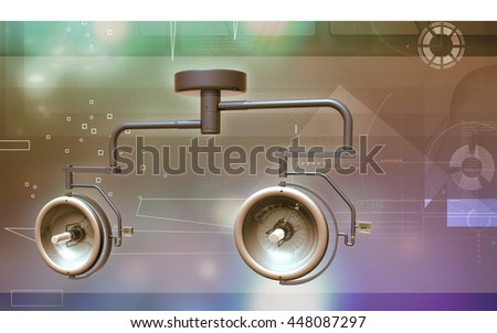 Digital illustration of Surgical lamp in color background. 3D rendering - stock photo