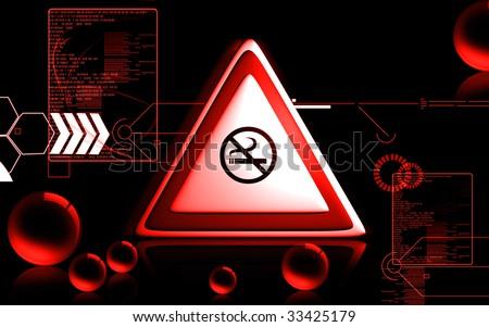 Digital illustration of symbol no smoking symbol - stock photo