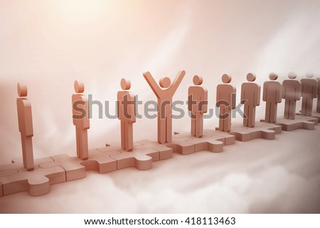 Digital image of cheerful human standing in row above sky - stock photo