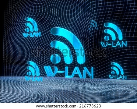 digital internet 3d rendering of a wlan constructed out of electronic faces in cyber space. A wlan builds up in the middle of the scene surrounded by digital data network on black background - stock photo