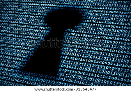 Digital keyhole / A Concept of cyber security - stock photo