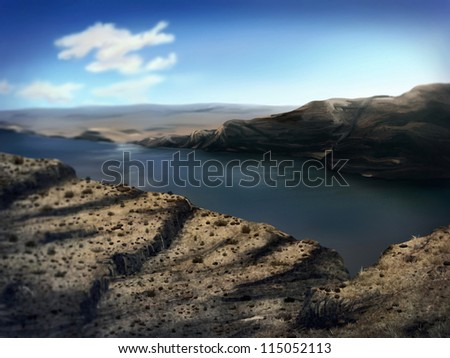 digital landscape painting of a mighty river gorge in Washington state - stock photo