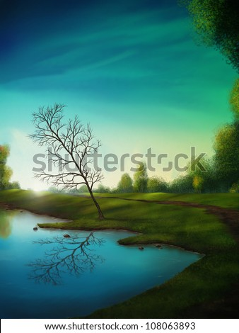 digital landscape painting of a tree reflected in a calm lake below a surreal cloudy sky - stock photo
