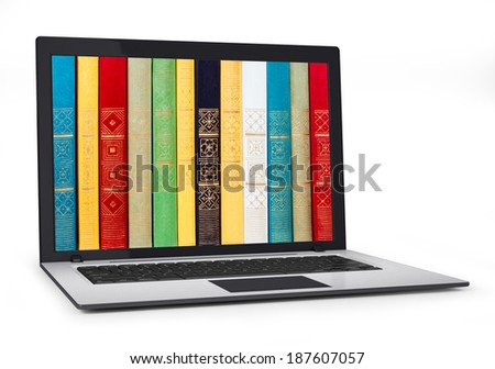 digital library - books inside computer - stock photo