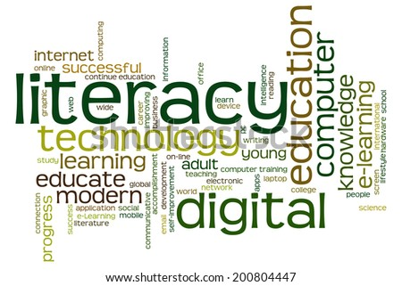 Digital literacy concept word cloud background  - stock photo