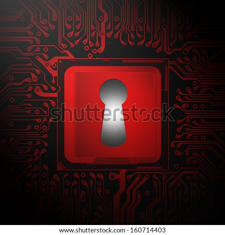 digital lock Restricted information - stock photo