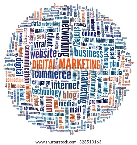 Digital Marketing in word collage - stock photo