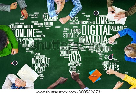 Digital Media Connecting Content Network Technology Concept - stock photo