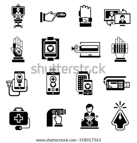 Digital medicine icons black set with telemedicine pocket monitor health control symbols isolated  illustration - stock photo