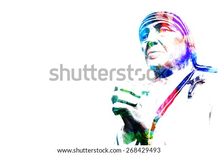 Digital Mother Theresa: Wild modern illustration water painted vintage retro style effect abstract art of mother teresa with selective coloring on a grunge crushed ancient paper background pattern - stock photo