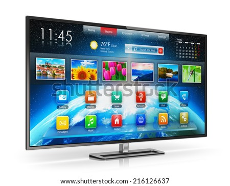 Digital multimedia entertainment and media television broadcasting internet business concept: smart TV display screen with color web interface isolated on white background with reflection effect - stock photo