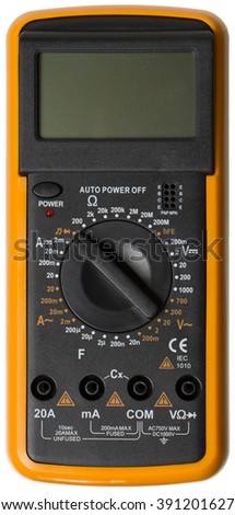 Digital Multimeter, Electrical Tester isolated, white background - stock photo