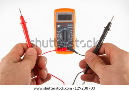 Digital multimeter isolated on a white background - stock photo