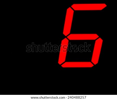 Digital Number Six from a clock - stock photo