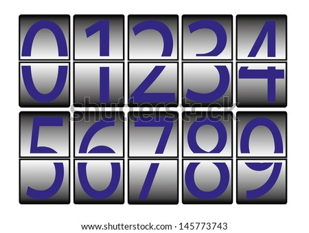 digital-numbers-0-9-blue - stock photo