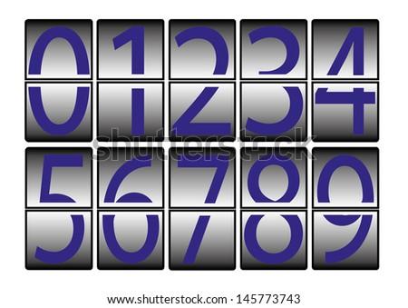 digital-numbers-0-9-blue - stock photo